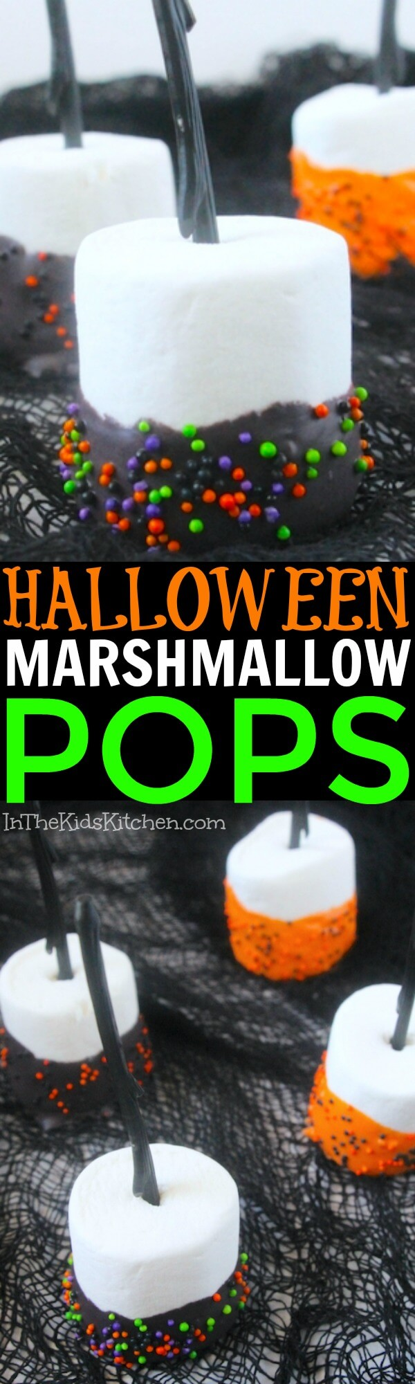 A quick & easy party treat that kids will love to make! These orange and black sprinkle Halloween Marshmallow Pops are spooky cute fun!