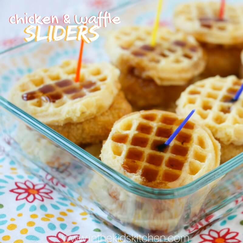 waffle sliders with syrup in pan