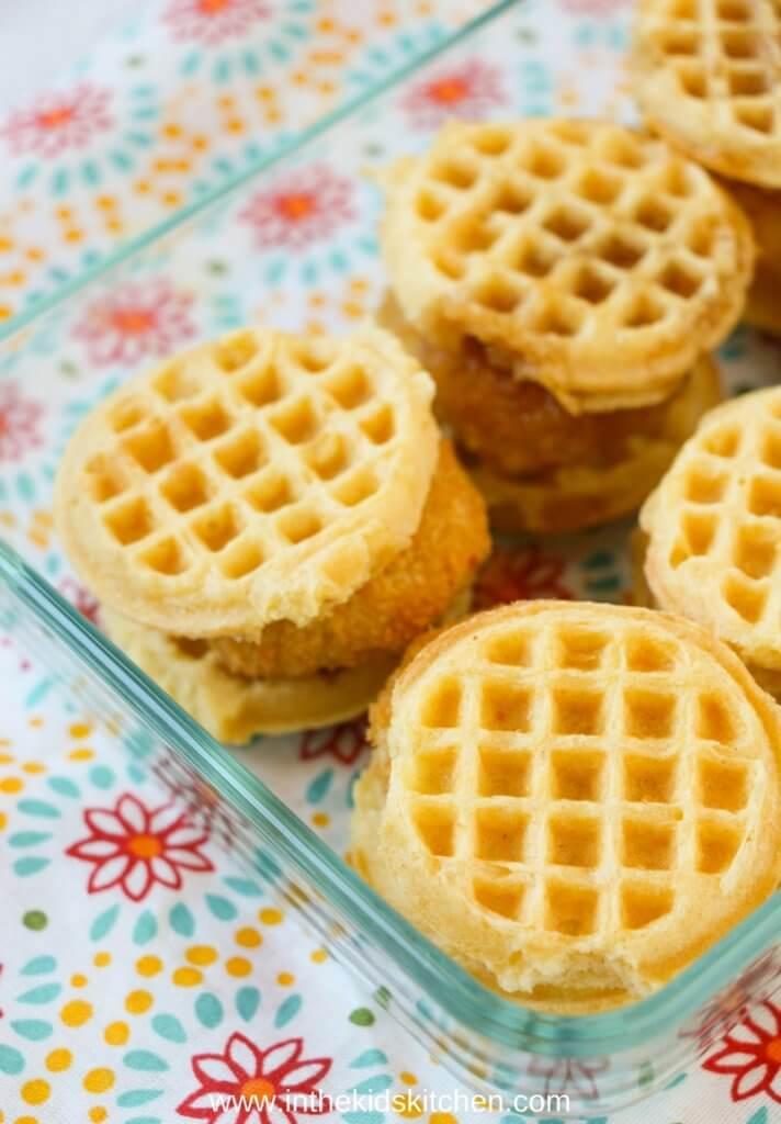 chicken & mini waffles in baking dish
