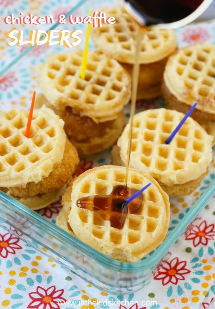 Chicken & waffle sliders in baking dish