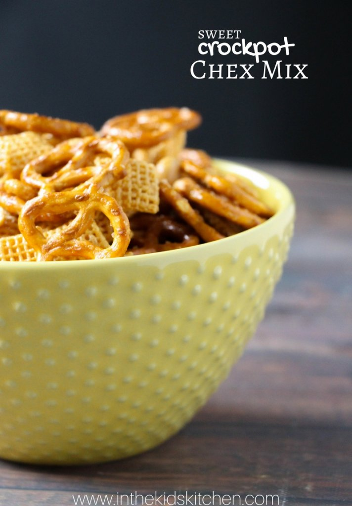 A classic holiday party snack made even easier with this Crockpot Chex Mix recipe!An addicting combination of sweet, salty, & crunchy!