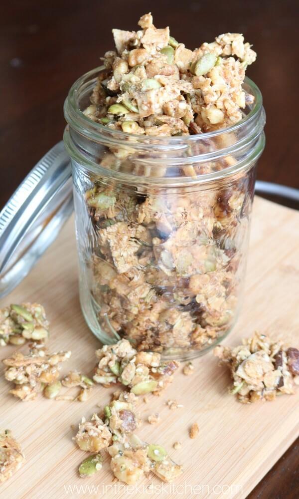 Crunchy granola in jar