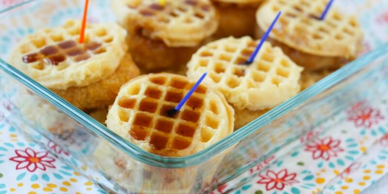waffles & syrup with fried chicken tenders