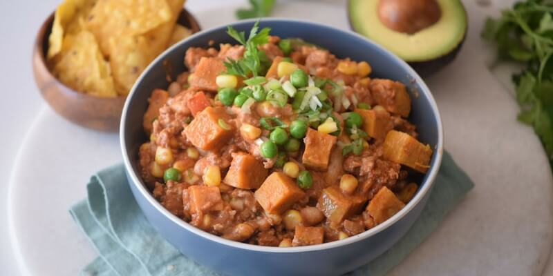 Healthy sweet potato turkey chili for fall