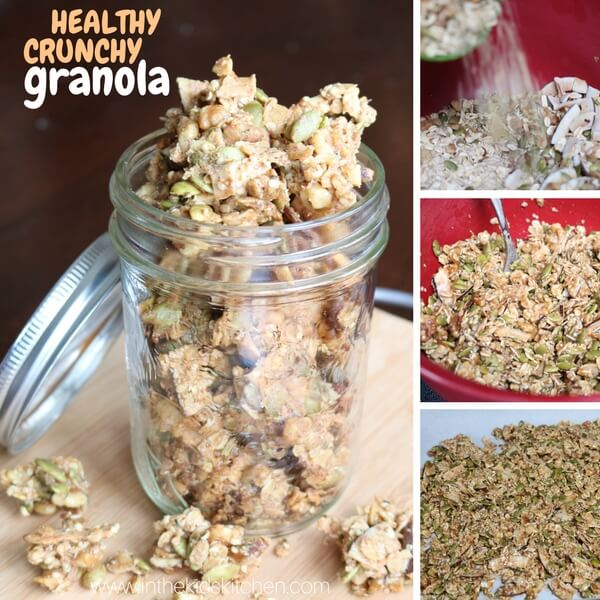 Collage image showing how to make homemade granola clusters