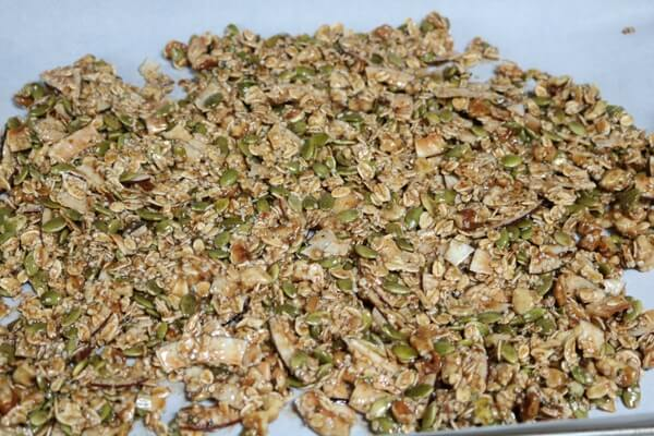 Baking healthy homemade granola