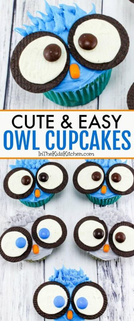 How to make cute and easy Owl Cupcakes for a kids birthday party - you're going to love their big Oreo cookie owl eyes! Click for step-by-step photo recipe.