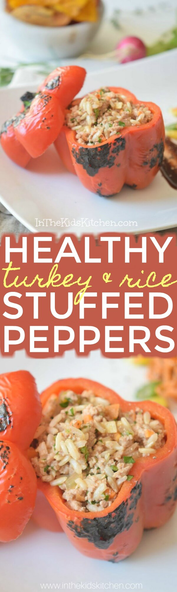 A holiday dinner wrapped up in a healthy, sweet red bell pepper - these turkey and rice stuffed peppers are a guilt-free comfort food indulgence!