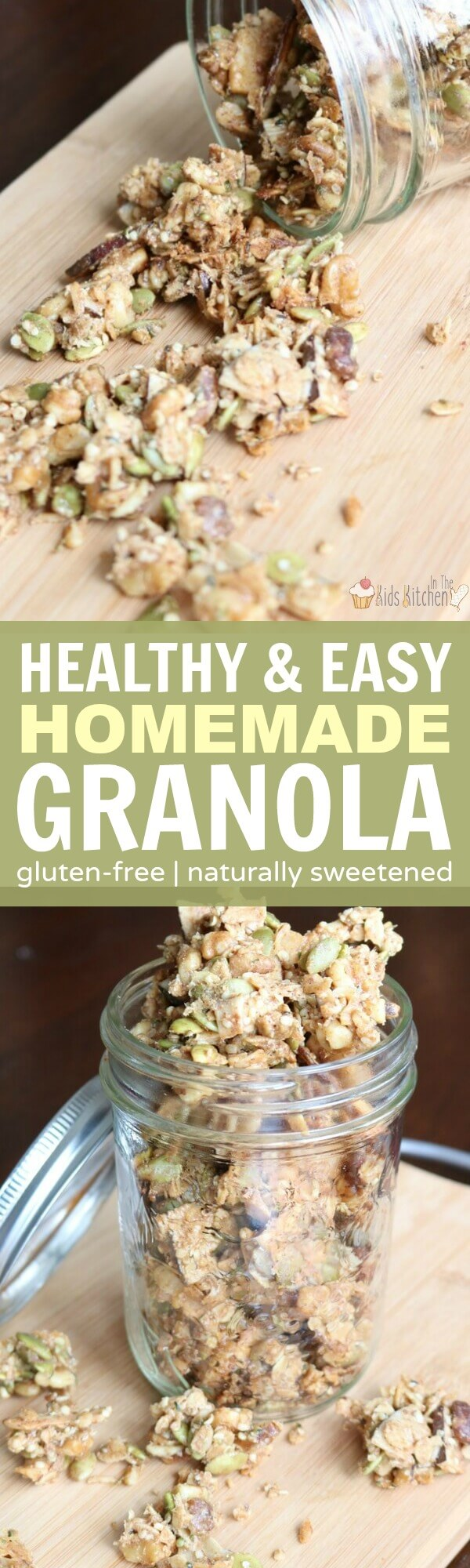 Granola is the perfect pantry staple for a busy family. It works on top of yogurt, smoothie bowls, or all by itself. Many store-bought brands contain artificial sweeteners or additives, so we make our own healthy, naturally-sweetened homemade crunchy granola! #snacks #healthyrecipes #granola #glutenfree
