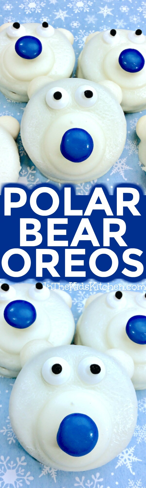 Polar Bear Cookies are a frozen fun winter-themed kids treat or holiday party dessert! Easy chocolate dipped recipe to make with kids of all ages.