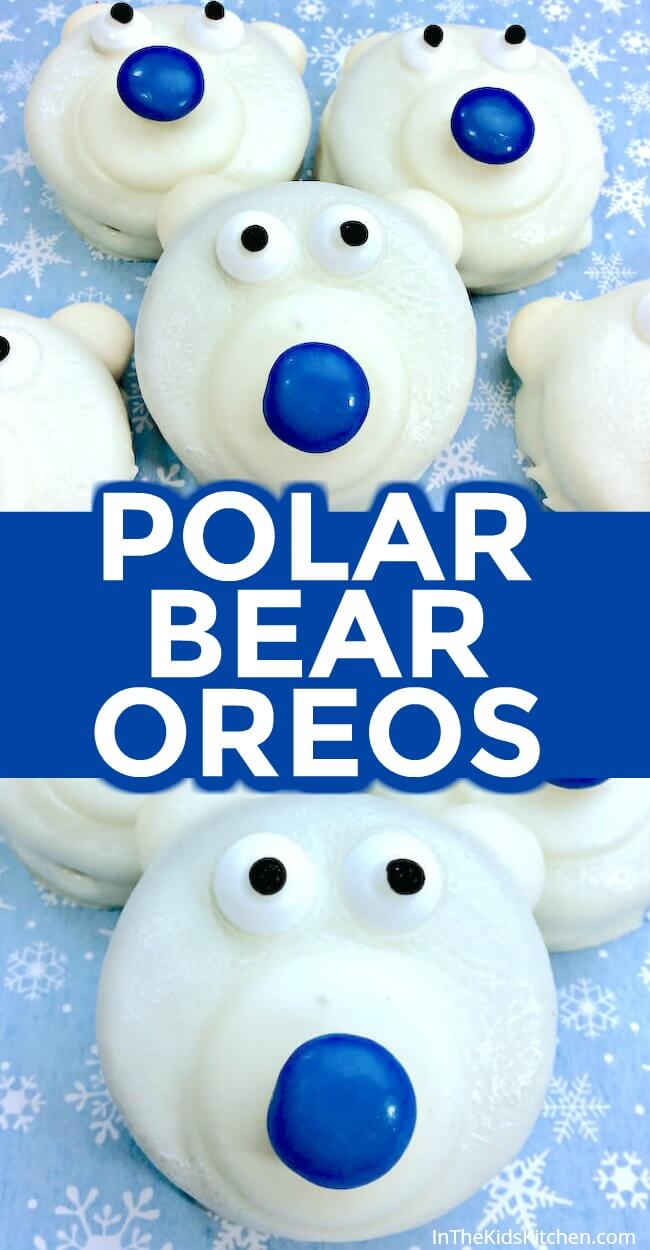 Polar Bear Oreos are a frozen fun winter-themed kids treat or holiday party dessert!