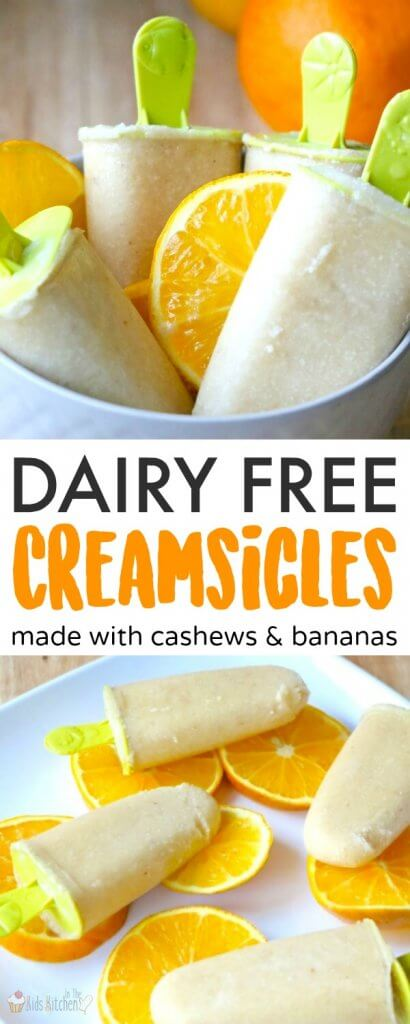 Dairy Free Cashew Milk Creamsicles are rich, creamy, and bursting with tropical fruit flavor! An easy, high protein and dairy free dessert.