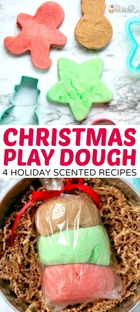 Super-soft scented Christmas Play Dough! We've included four easy no-cook recipes for holiday fun at home, or as a homemade gift idea!