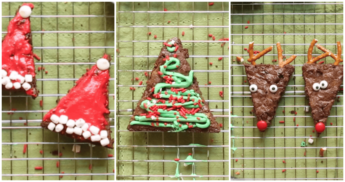 Make 3 different adorable Christmas brownies from the same recipe! How to make Santa hat brownies, Rudolph brownies, and Christmas tree brownies.
