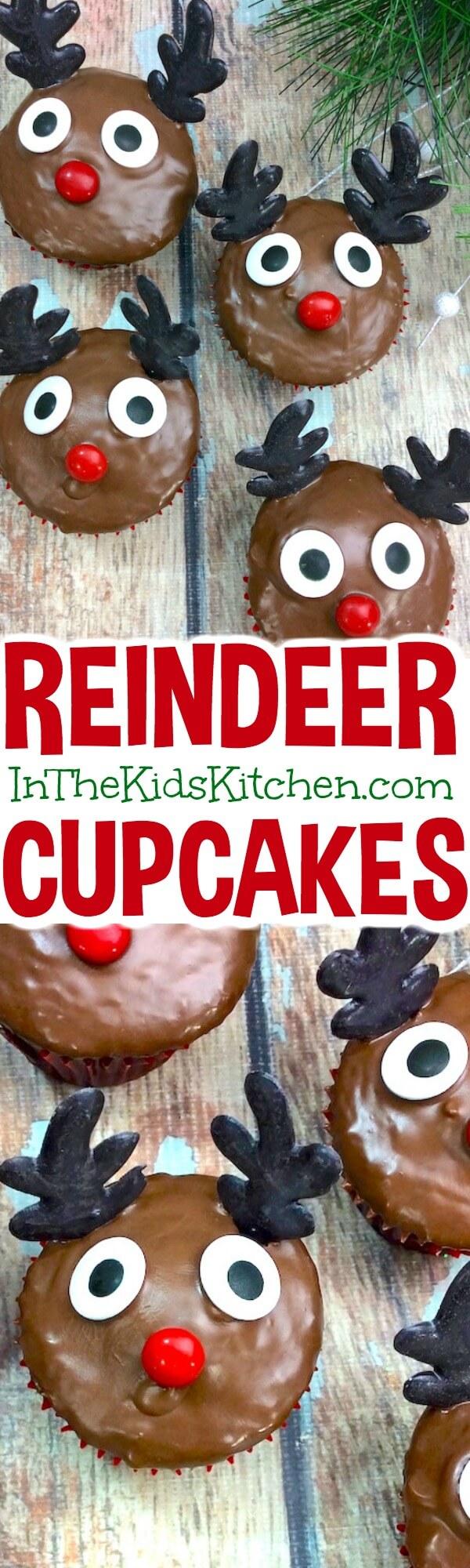 Easy Rudolph Reindeer Cupcakes #Christmas #cupcakes
