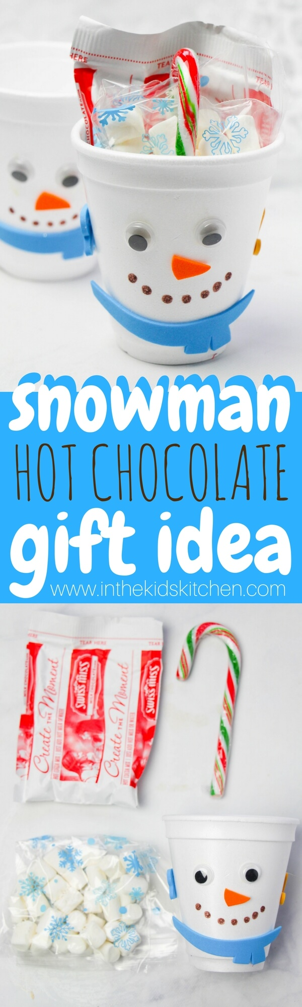 A cute classroom gift idea for Christmas, this Snowman Hot Chocolate Gift Set is one kids can make, and it's thrifty too!