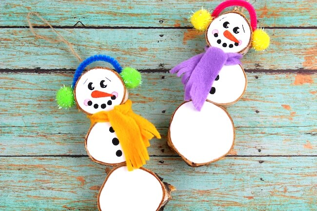 How to make wood slice snowmen Christmas ornaments
