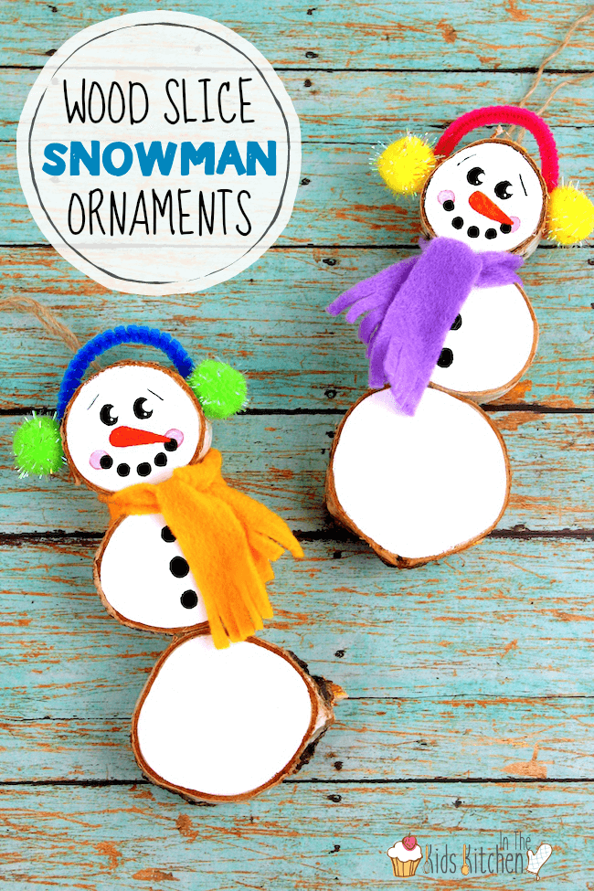 These rustic wood slice snowman ornaments are adorable kid-made decorations or Christmas gifts! Durable and made to last for years to come.