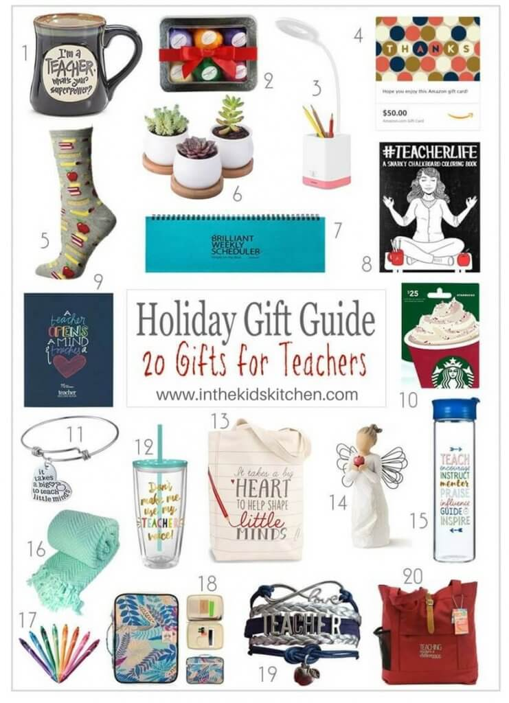 Suggested by teachers! 20 thoughtful teacher gift ideas that they'll love and use every day! Gifts of all types for all budgets!