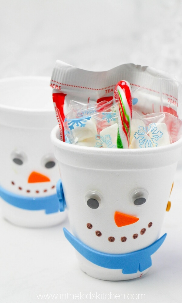 snowman hot chocolate gift set for kids in the kids kitchen