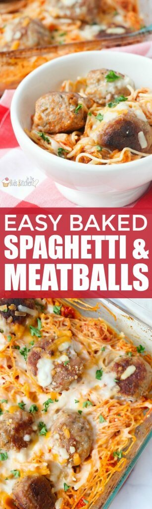 A comfort food classic made even better! Baked Spaghetti & Meatballs is hearty and wholesome and ready in a flash! #spaghetti #recipe #comfortfood #pasta #recipe