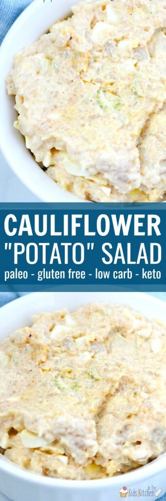 "Paleo, low carb, gluten free, and just plain delicious! Rich and creamy just like a ""real"" potato salad, but SO much better for you! Try this Healthy Cauliflower Potato Salad at your next potluck or barbecue!"