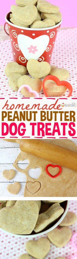 Show your furry best friend how much you love them with these heart shaped peanut butter dog treats! An easy homemade dog biscuit recipe using simple ingredients. #dogs #dogtreats