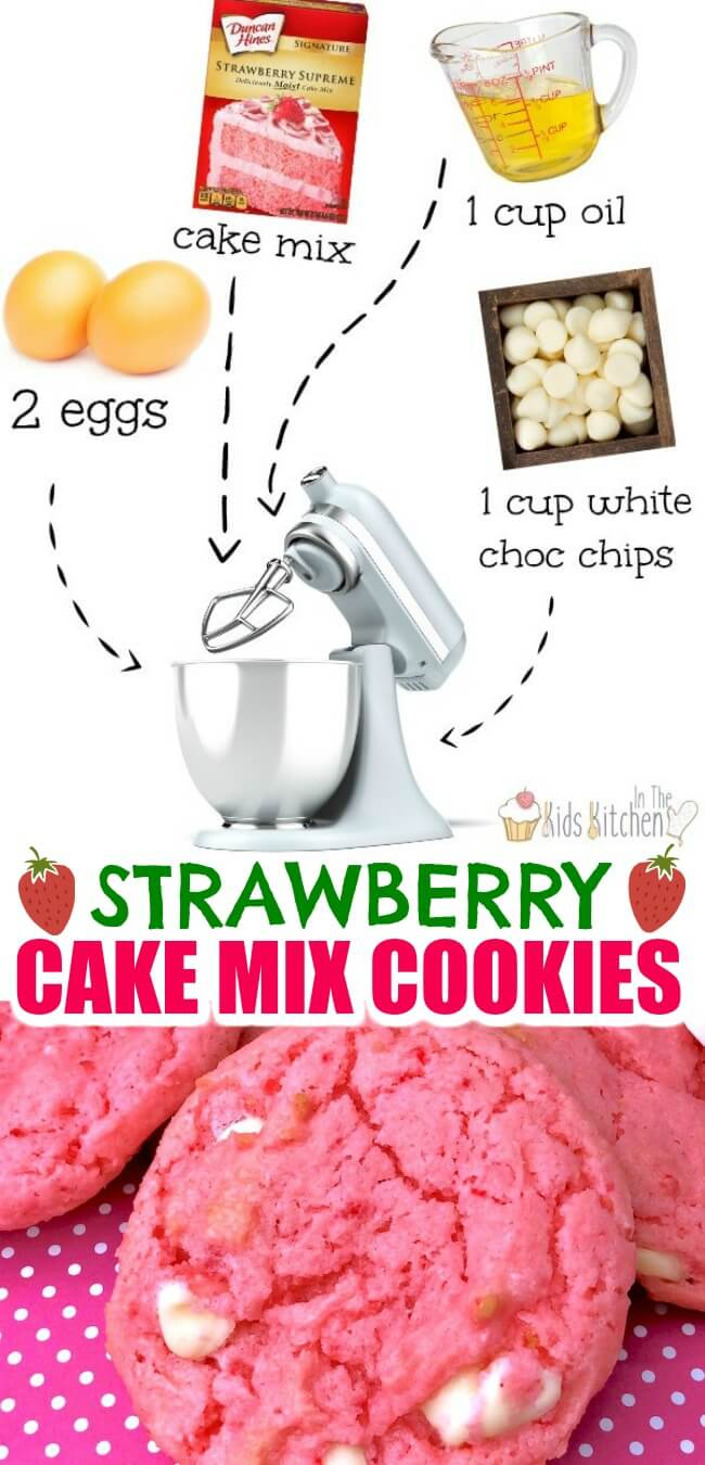 These pillowy soft strawberry cake mix cookies with creamy white chocolate chips are the perfect EASY Valentine's Day dessert! Only 4 ingredients!