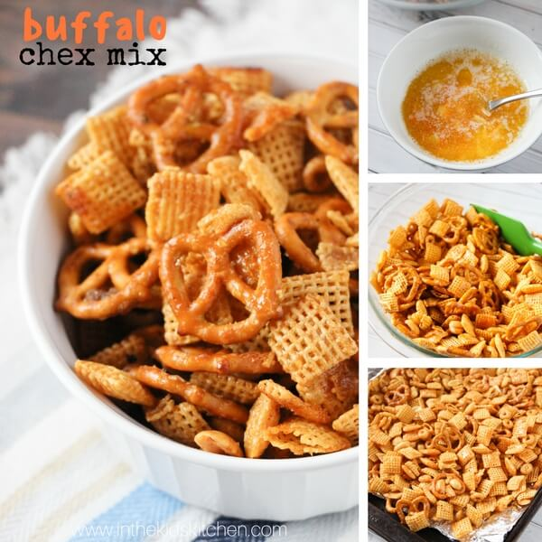 Step by step collage showing how to make Chex party mix