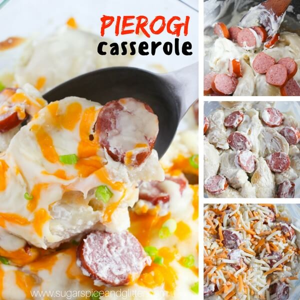 creamy Pierogi casserole step-by-step collage
