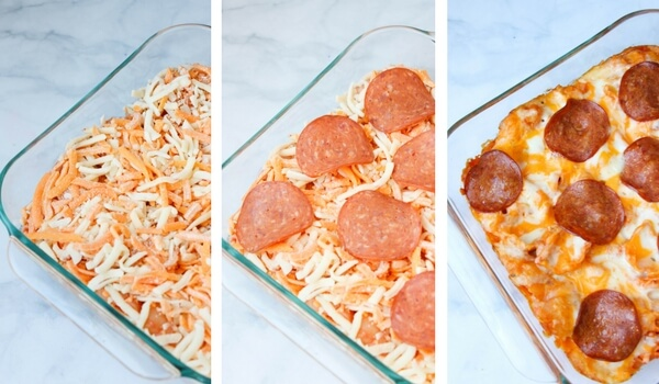 layering pizza pasta in casserole dish to bake