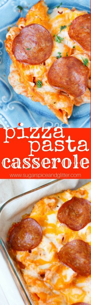 This easy, cheesy Pizza Pasta Casserole is an quick and hearty weeknight dinner and a guaranteed hit with the whole family!