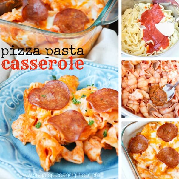 Pizza pasta collage showing step by step photos