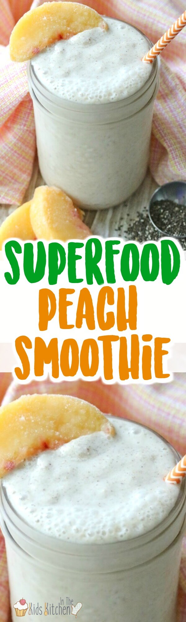 Start the day with a superfood kick! This healthy peach smoothie is full of goodies and easy to make! Vitamins, calcium, and more! (Bonus: it's kid-approved)!)