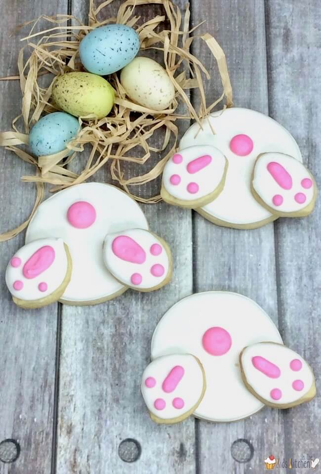 "Too cute! How to make the trendy ""Bunny Butt Cookies"" that are so popular for Easter. How to make homemade sugar cookies and royal icing OR our shortcut to save time!"