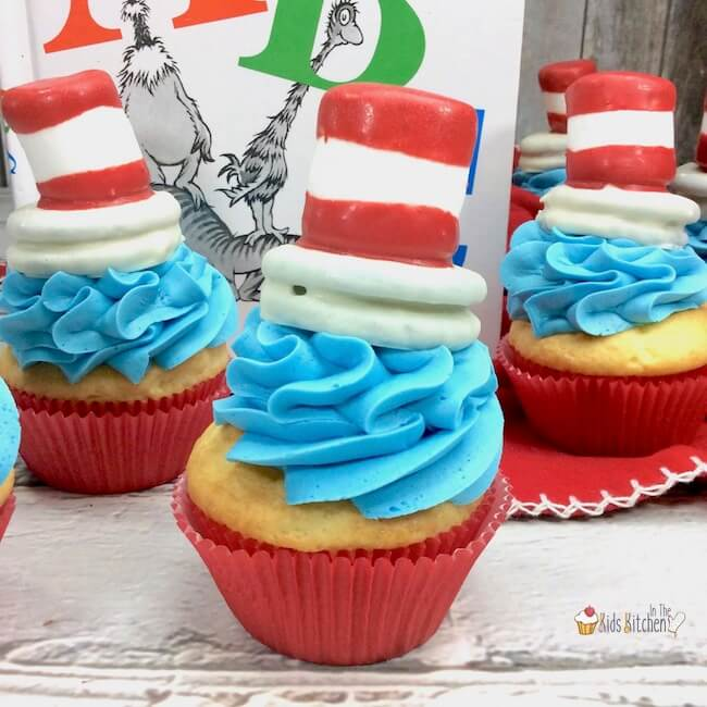 Inspired by the Dr. Seuss classic, these quirky Cat in the Hat Cupcakes are sure to be a hit with young readers! Perfect for school parties, birthdays, or celebrating Dr. Seuss Day!