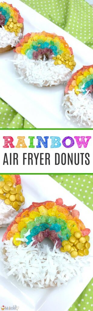 An easy shortcut recipe to make rainbow decorated air fryer donuts. Perfect for St. Patrick's Day or kids birthday parties! #donut #rainbow #dessert