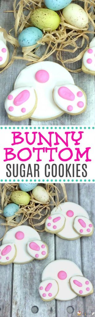 "Too cute! How to make the trendy ""Bunny Butt Cookies"" that are so popular for Easter. How to make homemade sugar cookies and royal icing OR our shortcut to save time! #Easter #cookies #desserts"