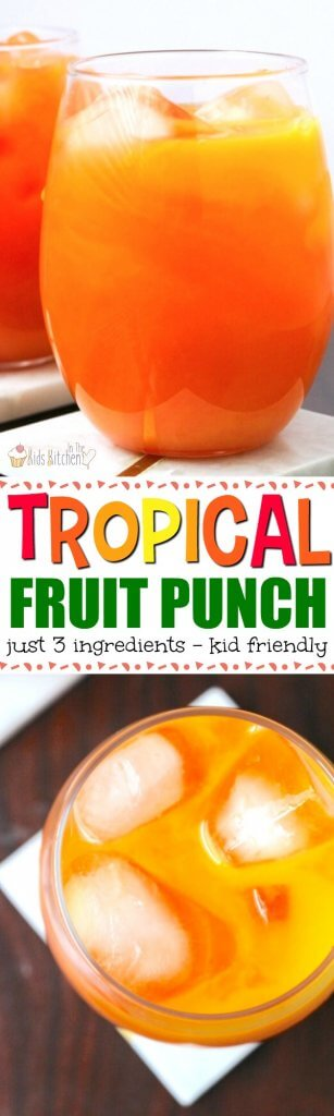 A taste of summer in a glass! This non-alcoholic Tropical Fruit Punch is perfect for kids and super easy to make (only 3 ingredients needed!)
