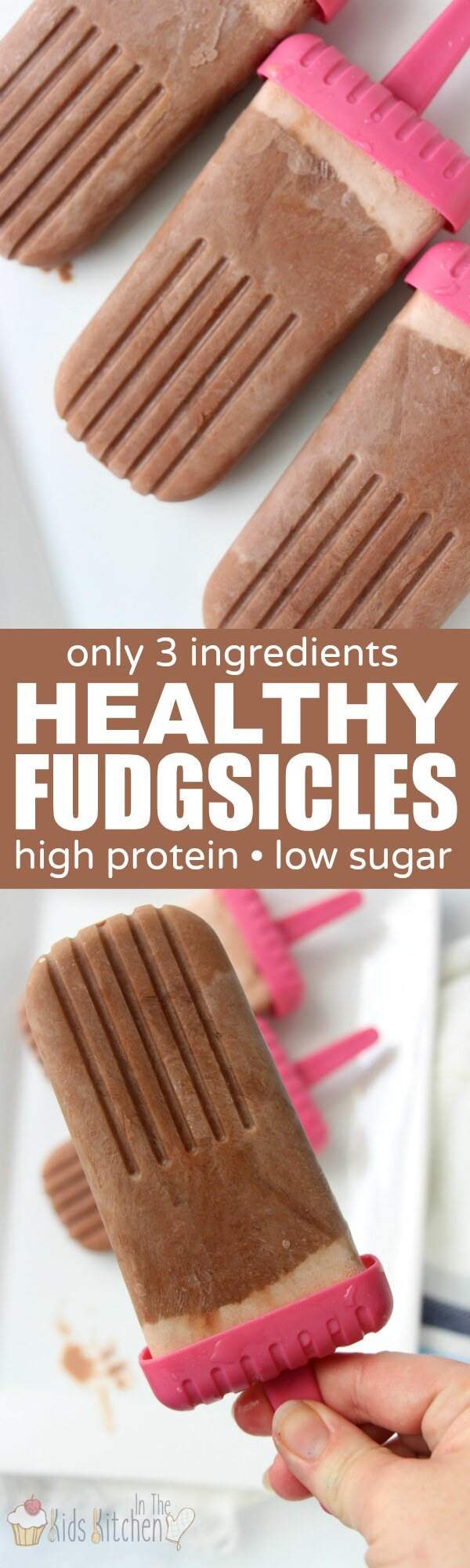 Healthy homemade fudgsicles that won't break your diet and you can feel good about serving the kids too!High in protein, a good source of calcium, and only 3 ingredients!