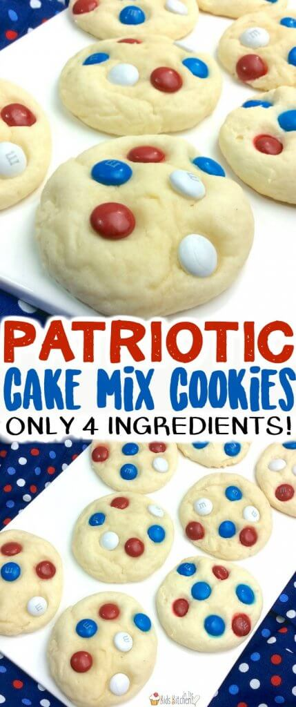 These might look like regular M&M cookies, but look again! These cute and easy 4th of July cookies are actually made with our favorite cake mix cookie recipe - only 4 ingredients total and SO fluffy!