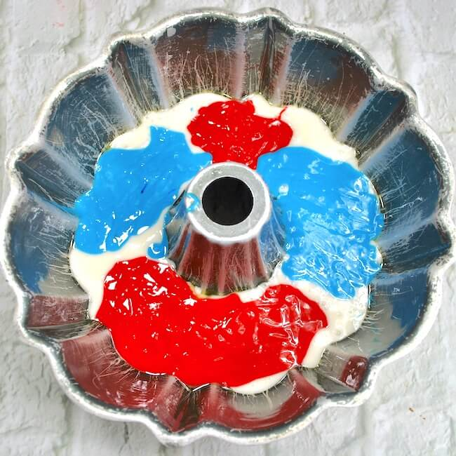How to make a red white and blue swirl bundt cake