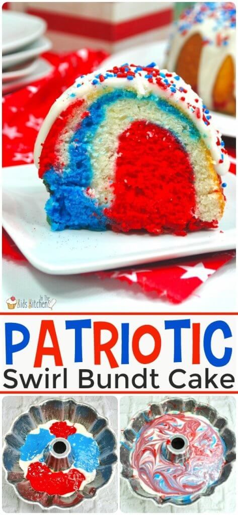 How to make a fun and patriotic Red White & Blue Swirl Bundt Cake for 4th of July or Memorial Day.