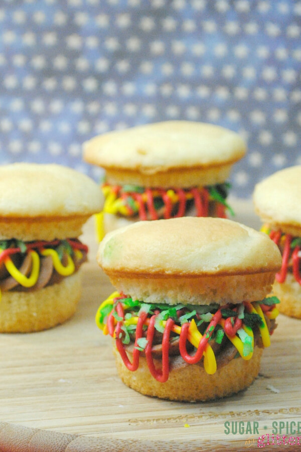 burger cupcakes - Father's Day food ideas