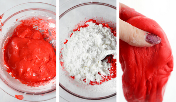 mixing bowl with bright red jello slime