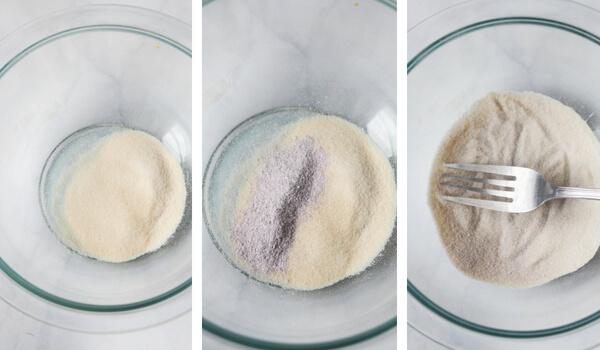 Mixing bowl with cornstarch and jello powder