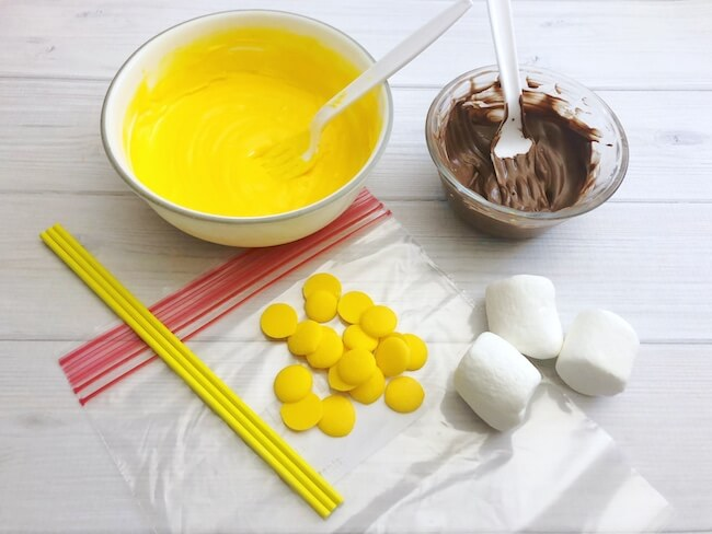 melted yellow chocolate and marshmallows