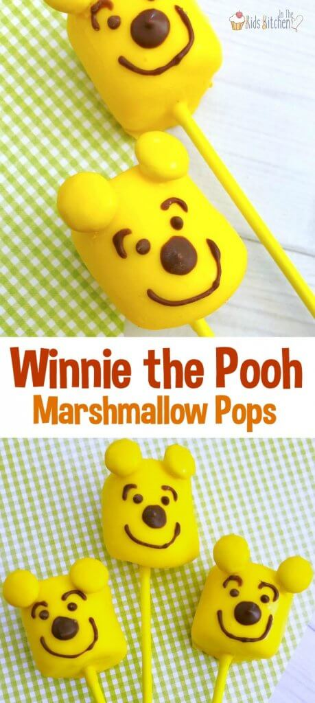Celebrate the new Christopher Robin movie with these cute & easy Winnie-the-Pooh Marshmallow Pops that kids can help make!