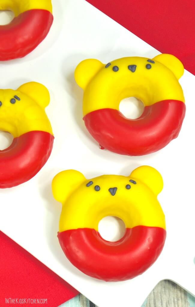 These chocolate dipped Winnie-the-Pooh Donuts are almost too cute to eat!