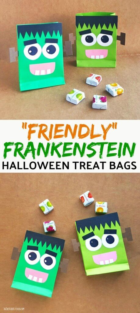 A super cute (and easy) tutorial to make Friendly Frankenstein DIY Halloween Treat Bags! Free printable included. Click for step-by-step photo instructions.